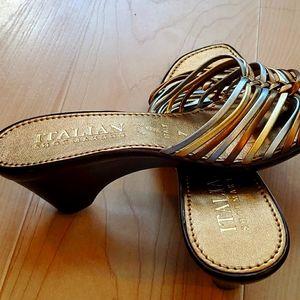 """Italian Shoemakers bronze/gold/silver 2"""" heel"""